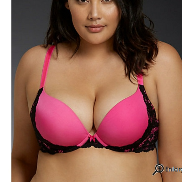 c007a07d1d Torrid Hot Pink and Black Push Up Plunge Bra New